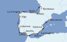 Itinéraire de la croisière Méditerranée 14 jours à bord du Azamara Quest