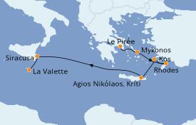 Itinéraire de la croisière Grèce & Adriatique 8 jours à bord du Seabourn Encore