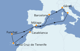Itinéraire de la croisière Méditerranée 12 jours à bord du MSC Magnifica
