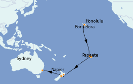 Itinéraire de la croisière Transatlantiques et Grands Voyages 2022 21 jours à bord du Ovation of the Seas