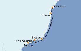 Itinéraire de la croisière Amérique du Sud 8 jours à bord du MSC Grandiosa
