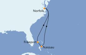 Itinéraire de la croisière Bahamas 6 jours à bord du Carnival Radiance