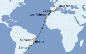 Itinéraire de la croisière Transatlantiques et Grands Voyages 2020 17 jours à bord du Costa Luminosa