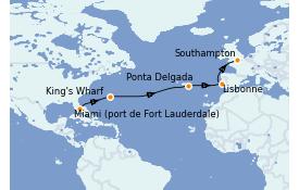 Itinéraire de la croisière Transatlantiques et Grands Voyages 2022 14 jours à bord du Celebrity Silhouette