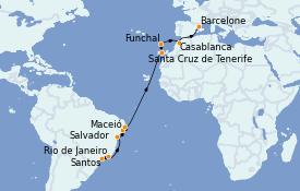 Itinéraire de la croisière Transatlantiques et Grands Voyages 2023 17 jours à bord du Costa Fortuna