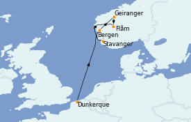 Itinéraire de la croisière Fjords & Norvège 9 jours à bord du MS World Explorer