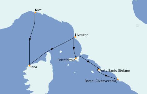 Itinéraire de la croisière Méditerranée 7 jours à bord du Le Lyrial