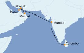 Itinéraire de la croisière Dubaï - Emirats 14 jours à bord du Le Bellot