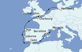 Itinéraire de la croisière Méditerranée 11 jours à bord du MSC Orchestra