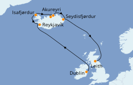 Itinéraire de la croisière Exploration polaire 14 jours à bord du Azamara Journey