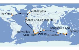 Itinéraire de la croisière Australie 2023 50 jours à bord du Queen Mary 2