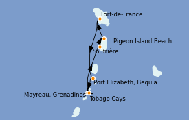 Itinéraire de la croisière Caraïbes de l'Est 8 jours à bord du Le Bougainville