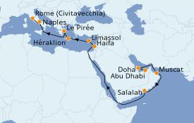 Itinéraire de la croisière Dubaï - Emirats 20 jours à bord du Costa Smeralda