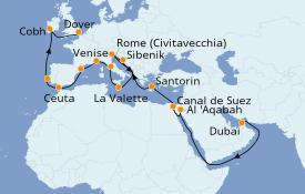 Itinéraire de la croisière Tour du Monde 2020 30 jours à bord du Sea Princess