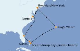 Itinéraire de la croisière Bahamas 11 jours à bord du Norwegian Star
