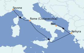 Itinéraire de la croisière Méditerranée 5 jours à bord du Costa Pacifica
