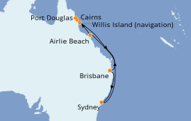 Itinéraire de la croisière Australie 2021 11 jours à bord du Sea Princess