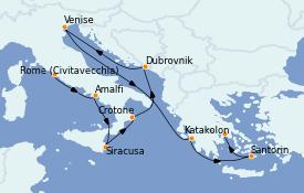 Itinéraire de la croisière Méditerranée 11 jours à bord du MS Nautica