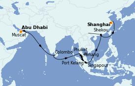 Itinéraire de la croisière Transatlantiques et Grands Voyages 2022 26 jours à bord du MSC Virtuosa