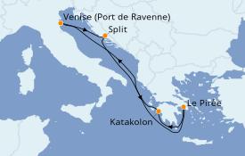 Itinéraire de la croisière Grèce & Adriatique 7 jours à bord du Rhapsody of the Seas