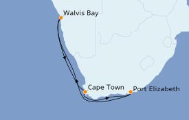 Itinéraire de la croisière Afrique 8 jours à bord du MSC Opera