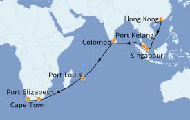 Itinéraire de la croisière Afrique 25 jours à bord du Queen Victoria