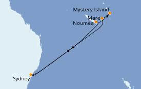 Itinéraire de la croisière Australie 2023 9 jours à bord du Carnival Splendor