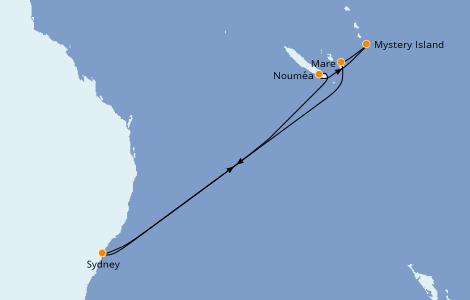 Itinéraire de la croisière Australie 2023 8 jours à bord du Carnival Splendor