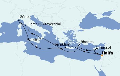 Itinéraire de la croisière Méditerranée 11 jours à bord du MSC Lirica