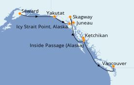 Itinéraire de la croisière Alaska 8 jours à bord du Norwegian Jewel
