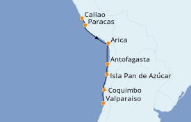 Itinéraire de la croisière Amérique du Sud 9 jours à bord du Silver Cloud Expedition