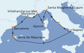 Itinéraire de la croisière Méditerranée 11 jours à bord du Celebrity Apex