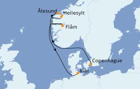 Itinéraire de la croisière Fjords & Norvège 7 jours à bord du MSC Meraviglia