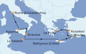 Itinéraire de la croisière Méditerranée 10 jours à bord du Silver Shadow