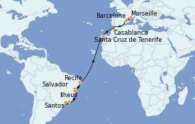 Itinéraire de la croisière Transatlantiques et Grands Voyages 2022 17 jours à bord du Costa Fortuna