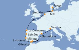 Itinéraire de la croisière Méditerranée 13 jours à bord du Costa Favolosa