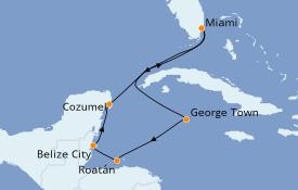 Itinéraire de la croisière Caraïbes de l'Ouest 8 jours à bord du Carnival Sunrise