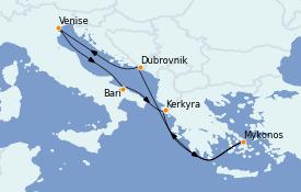 Itinéraire de la croisière Grèce & Adriatique 8 jours à bord du MSC Orchestra