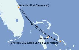 Itinéraire de la croisière Bahamas 5 jours à bord du Carnival Magic
