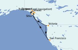 Itinéraire de la croisière Alaska 11 jours à bord du Carnival Miracle