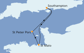 Itinéraire de la croisière Îles Britanniques 4 jours à bord du Azamara Pursuit
