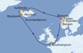 Itinéraire de la croisière Fjords & Norvège 15 jours à bord du Grand Princess