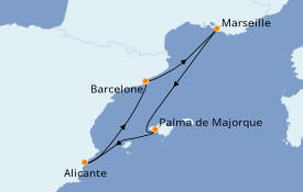 Itinéraire de la croisière Méditerranée 5 jours à bord du Norwegian Epic