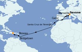 Itinéraire de la croisière Transatlantiques et Grands Voyages 2022 17 jours à bord du Costa Pacifica