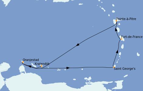 Itinéraire de la croisière Caraïbes de l'Est 7 jours à bord du Costa Diadema