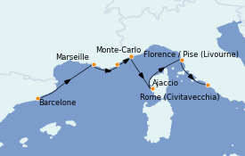 Itinéraire de la croisière Méditerranée 8 jours à bord du MS Sirena