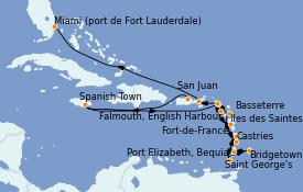 Itinéraire de la croisière Caraïbes de l'Est 16 jours à bord du Silver Whisper