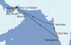 Itinéraire de la croisière Dubaï - Emirats 15 jours à bord du MSC Lirica