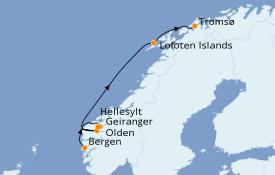 Itinéraire de la croisière Fjords & Norvège 9 jours à bord du Le Boréal