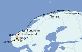 Itinéraire de la croisière Fjords & Norvège 13 jours à bord du MS World Explorer